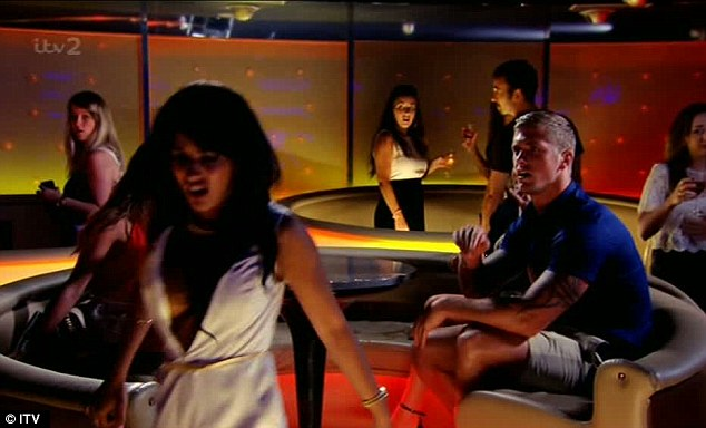 The fascinatingly complex Jasmin storms out of the heaving, happening, Marbella nightspot having been insulted by Dan (played by Peter Crouch) and taken her turn to throw a drink in someone's face