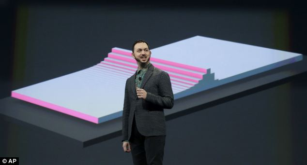 Matias Duarte, vice president Android Design, speaks about Material Design at Google I/O 2014 keynote presentation in San Francisco, Wednesday, June 25, 2014