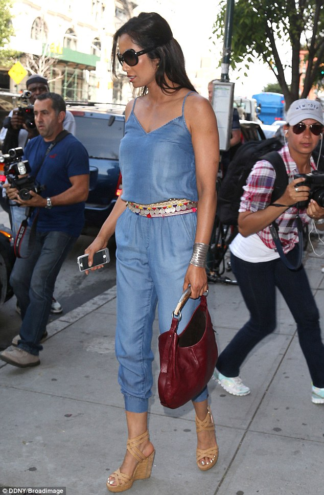 Striking: Padma looked summery in a blue jumpsuit as she stepped out to run errands in NYC on Wednesday