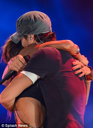 Embrace: While the pair were later seen holding onto each other after their emotional performance