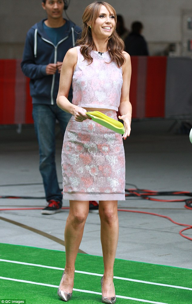 Pretty in pink: Alex Jones undoubtedly turned heads in her chic two-piece on Wednesday as she filmed outside the BBC studios