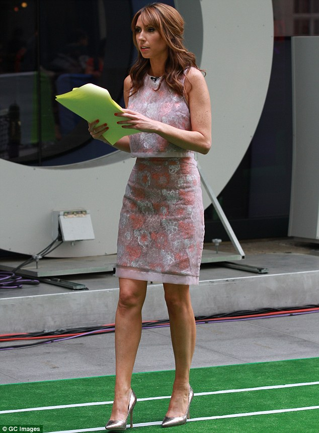 Script in hand: Alex's outfit featured a pretty silver pattern which matched her pointy stilettos perfectly