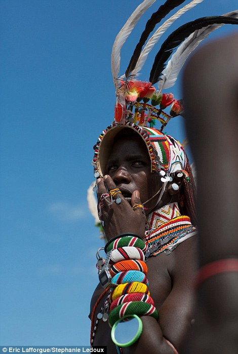 Colourful: Samburu and Rendille men also wear piles of colourful bracelets