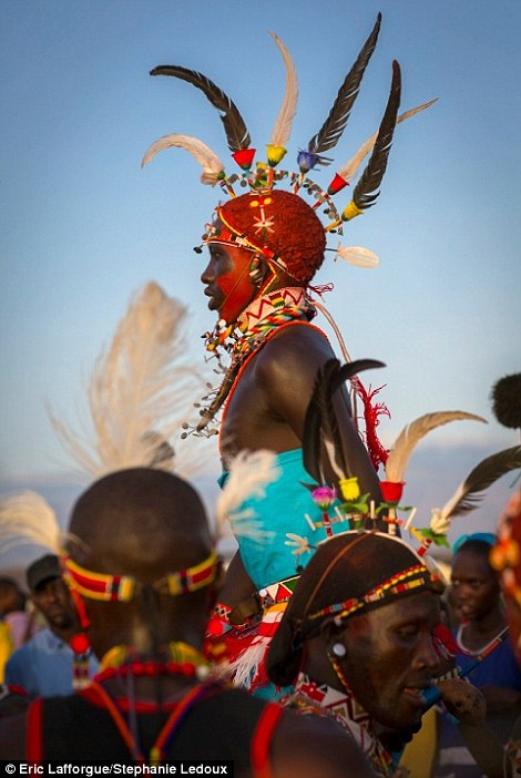 Incredible: Samburu men in feather headgear