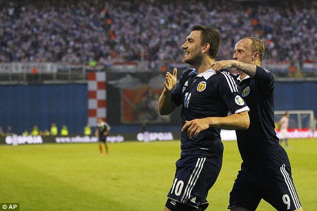 International: Snodgrass has also scored three goals in 15 appearances for Scotland
