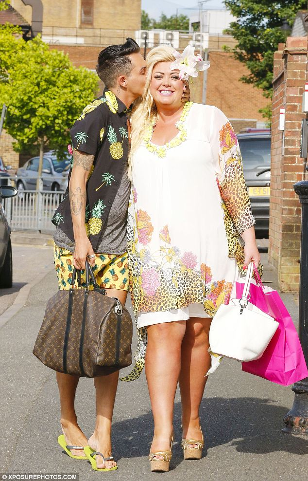 Hawaii-themed: Bobby Cole and Gemma Collins go totally tropical with their look