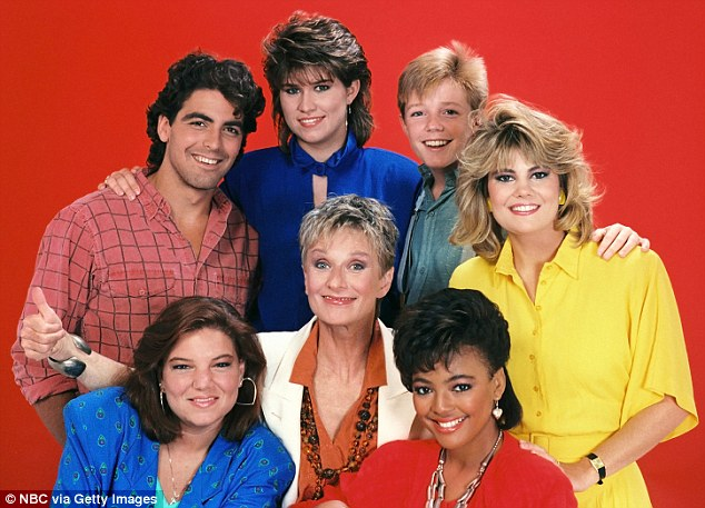 Back in the day: Cast of The Facts Of Life pictured (clockwise from left) George Clooney, Nancy McKeon, Mackenzie Astin, Lisa Whelchel, Kim Fields, Mindy Cohn (center), and Cloris Leachman