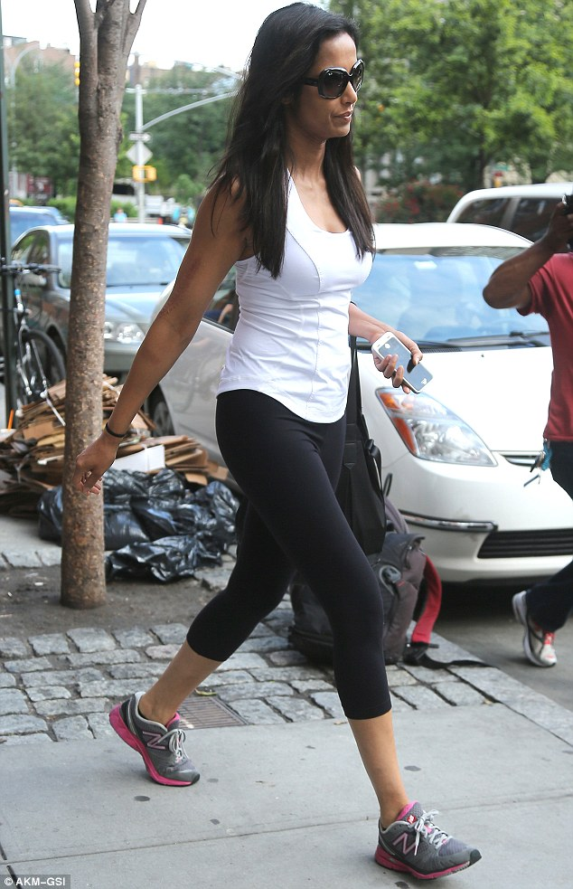 Maintaining her figure: Padma, 43, has authored cookbooks and hosts Top Chef. She says she works out five days a week to stay trim