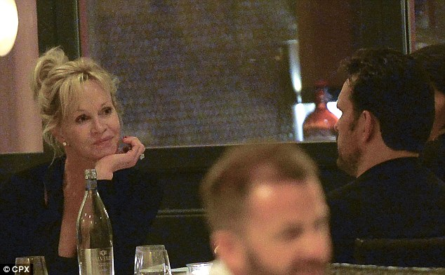 Just friends?: The newly single star was seen sharing a bottle of water with Matt Dillon at Pierluigi in Rome on Friday
