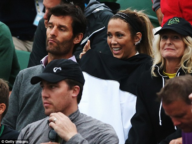 Cheering him on: Tennis WAG Bec Hewitt was joined by Formula One great Mark Webber as she supported husband Lleyton court side at his second round match at Wimbledon on Thursday