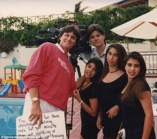 Throwback: Kourtney Kardashian shared this photo on Thursday of her as an 11-year-old, sister Kourtney, friend Courtenay Semel and Bruce Jenner who was - back then - a fitness instructor following his Olympian days