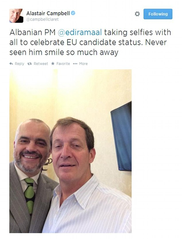 Former Downing Street director of communications Alastair Campbell posted this picture of himself with the Albanian Prime MinisterEdi Rama after the country was named as a candidate EU state