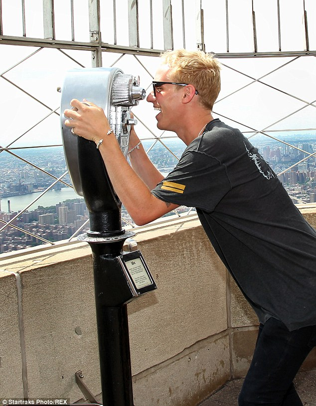 On the prowl: Jamie Laing seems to be enjoying the NYC trip which will air in August