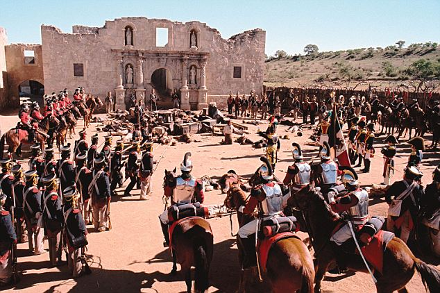 Cherished: For 178 years, the Battle of the Alamo has been one of America's most cherished historical events and has been re-enacted in film on numerous occasions, including in the 2004 movie, The Alamo (pictured)