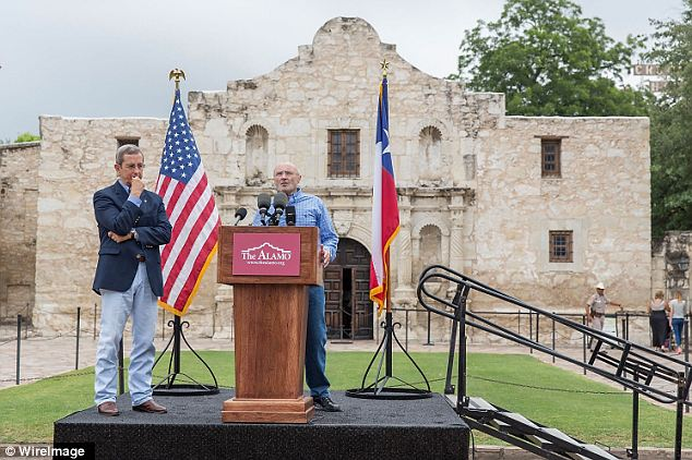 Homecoming: Collins made the announcement under the shadow of the Alamo itself in Texas