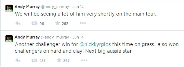 His number one fan: Wimbledon champion has his eye on Kyrgios
