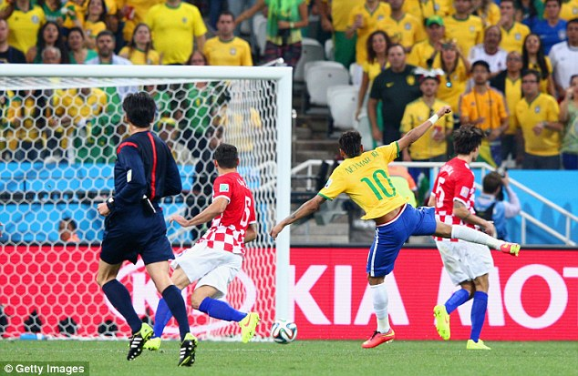 Historic moment: Neymar (centre) scored the opening goal of the World Cup in Brazil's 3-1 win vs Croatia