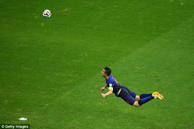 Flying Dutchman: Holland's Robin van Persie's stunning diving header against Spain was an early belter