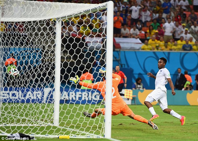 Swept home: Daniel Sturridge scored England's first goal at a disappointing World Cup against Italy in Manaus