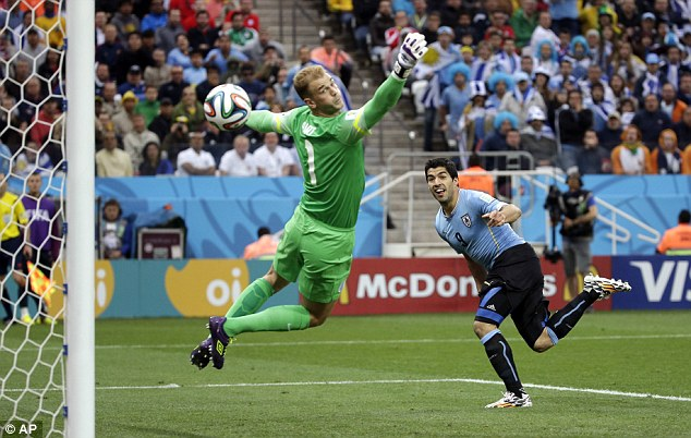 Matchwinner: Luis Suarez scored twice for Uruguay in their 2-1 World Cup win against England