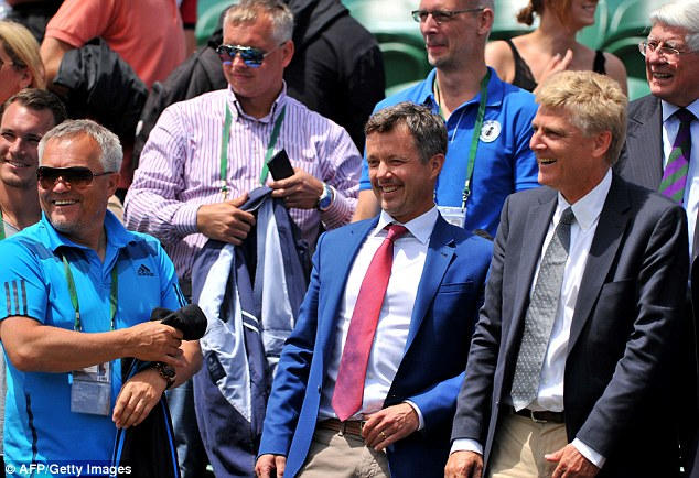 Royalty: Frederik, Crown Prince of Denmark (centre) watched Wozniacki stroll into the fourth round