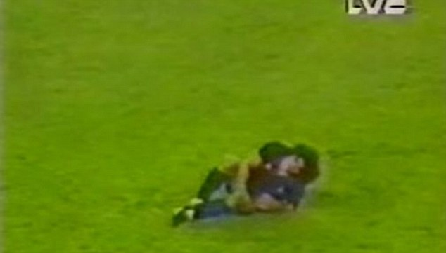 In agony: The brutal challenge by Goikoetxea left Maradona with a severely damaged ankle
