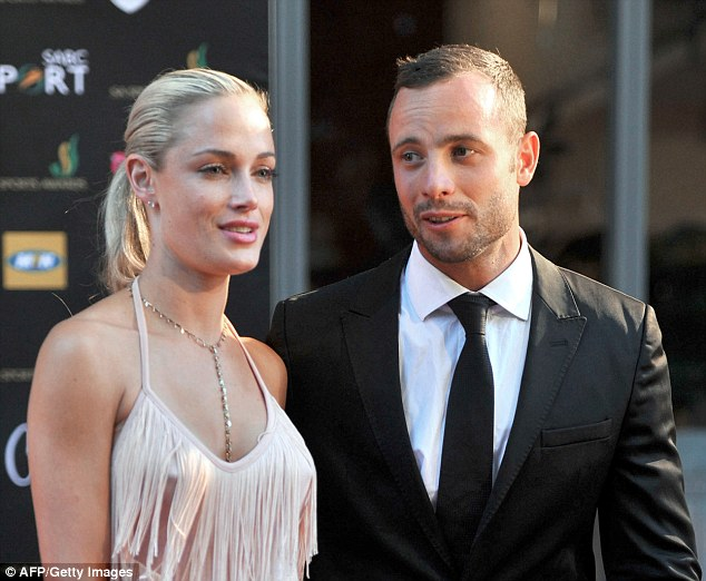 Denies murder: Pistorius is accused of deliberately shooting his girlfriend Reeva Steenkamp four times through his toilet door during a furious late-night row