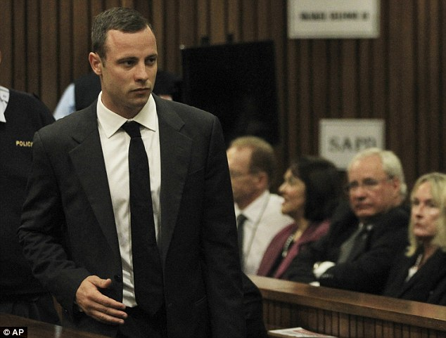 Facing another delay: Oscar Pistorius (pictured during his murder trial) may see the court hearing adjourned once again after one of the psychiatrists assessing his mental health suffered a heart attack