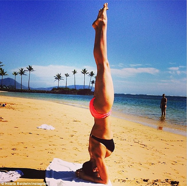 Body beautiful: The Spaniard posted this swimsuit shot earlier this year as she showed off her balancing skills on the beach