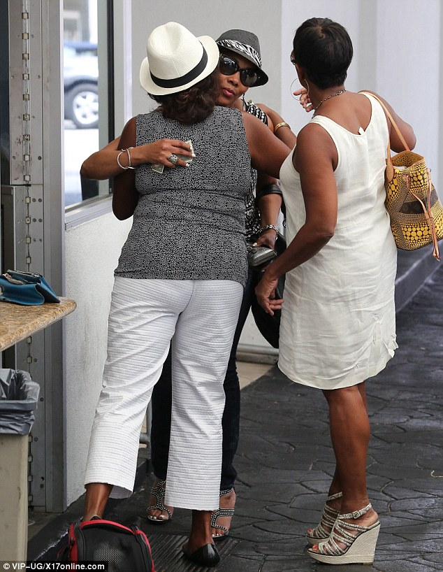 Hugging it out: The 52-year-old embraced Vivica before she left