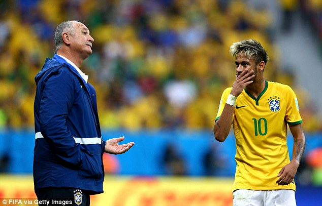 Prodigy: Scolari has been getting the best out of Neymar and will be hoping he can fire Brazil to the title