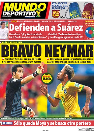 Clash: Mundo Deportivo concentrates on Barcelona team-mates Claudio Bravo and Neymar facing each other in the World Cup last 16 when Chile take on Brazil