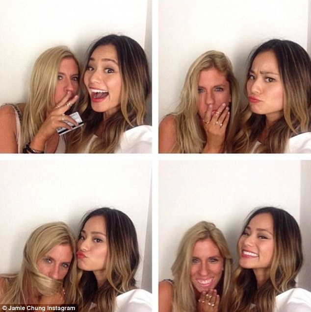 Photobooth fun: Later in the day, the star shared this snap with fans as she posed with a female pal