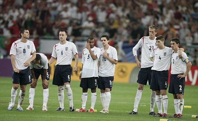 Nightmare: England boast a miserable record in World Cup penalty shootouts having lost all three