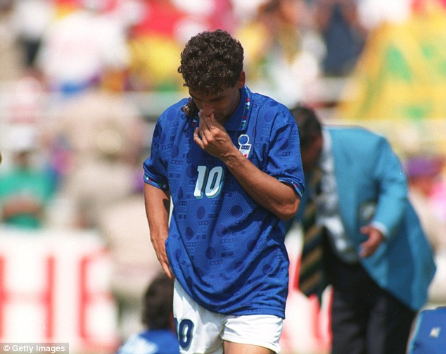 Devastated: Roberto Baggio looks crestfallen as his missed penalty gives Brazil the 1994 World Cup