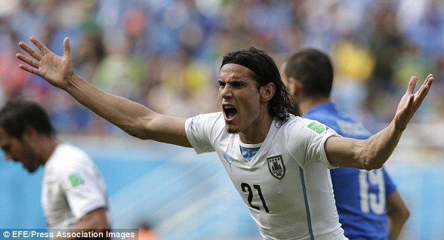 Pressure: With Luis Suarez banned the pressure is on strike partner Edinson Cavani to step up and supply the goals