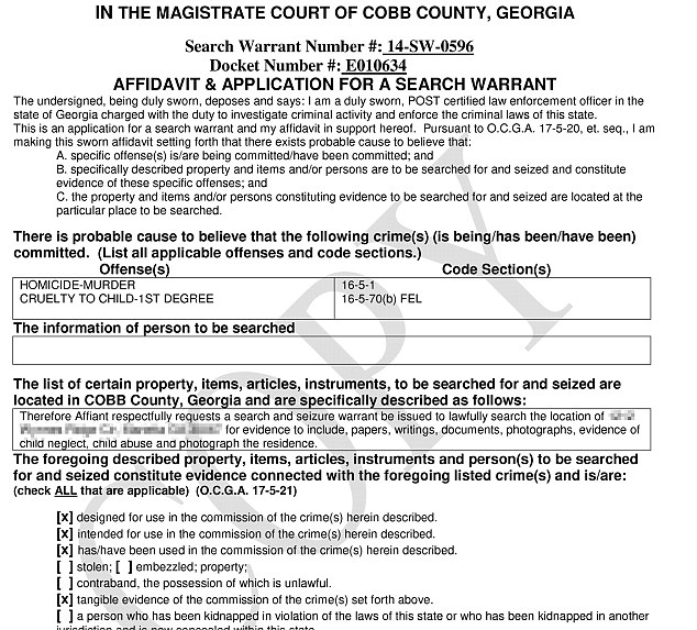 Investigating: An updated arrest warrant shows Justin Harris took his 22-month-old son, Cooper, to breakfast shortly before the little boy was left to die in a hot SUV