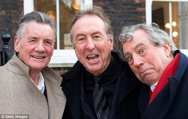 (L-R) Michael Palin, Eric Idle and Terry Jones of Monty Python pose together ahead of a legal case at the High Court in a dispute over the hit musical Spamalot on November 30, 2012 in London, England.  Mark Forstater, producer of the film Monty Python And The Holy Grail, is seeking the right to royalties from stage musical Spamalot. (Photo by Samir Hussein/Getty Images)