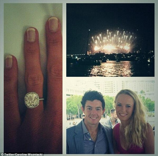 Too soon: Rory McIlroy and Wozniacki both shared their New Year engagement on Twitter