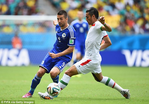 Hotshot: Ibisevic was on target for Bosnia in Brazil, notching in their first match of the tournamnet