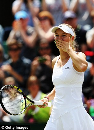 Moving on: The Danish No 1 celebrates after her win over Ana Konjuh in the third round