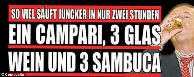 Mr Juncker is said to have drunk one Campari, three glasses of wine and three Sambucas in an hour