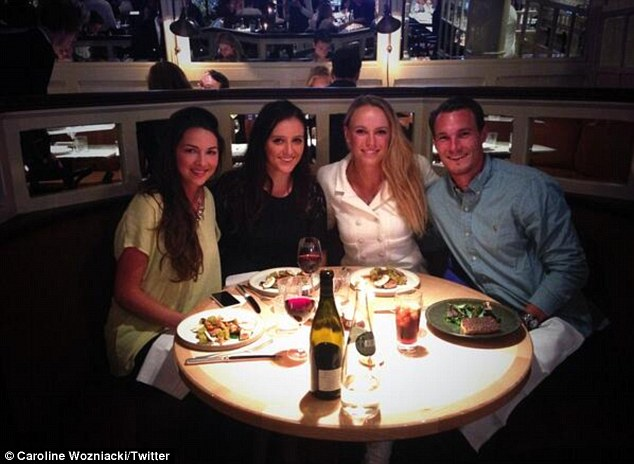 Support network: Wozniacki with (from left) Jennifer Saviano, Laura Robson and her brother Patrik