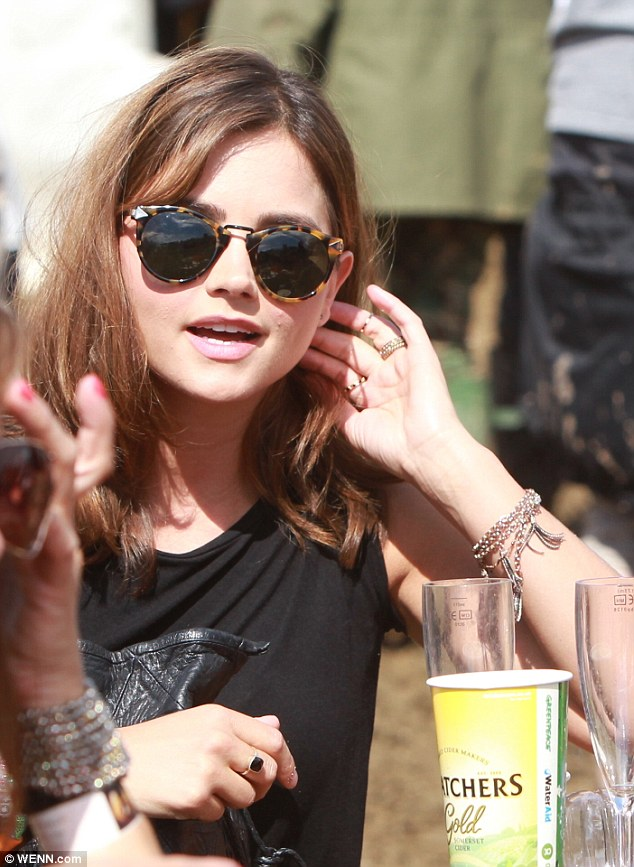 Listen up: The Doctor Who star complemented her outfit with a pair of tortoise shell sunglasses