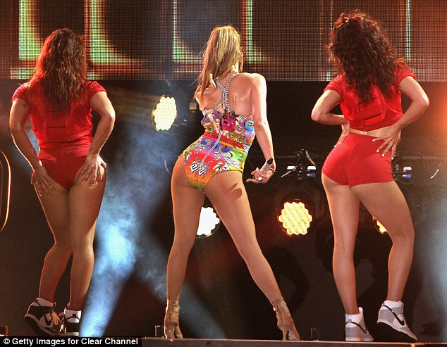 Queen Bee: The songstress easily outperformed Miley, who is 23 years her junior, bumping and grinding to perfection, her famously ample derrière no competition for the Wrecking Ball hitmaker