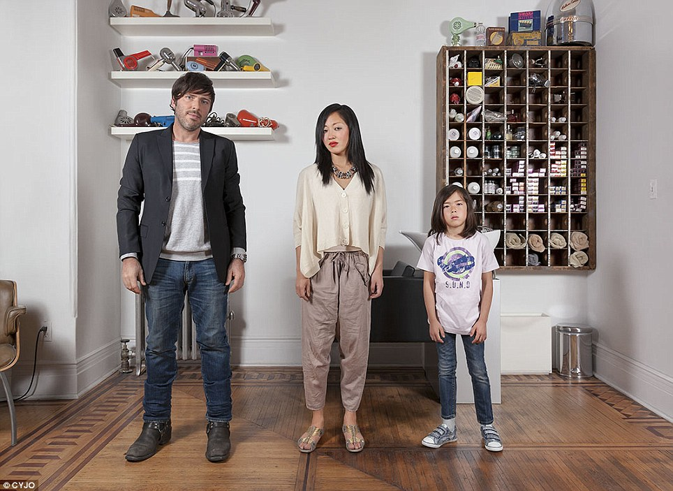 The Casarosa family, pictured in their New York home in 2010, are one of 19 families featured in the project to explore cultural identity