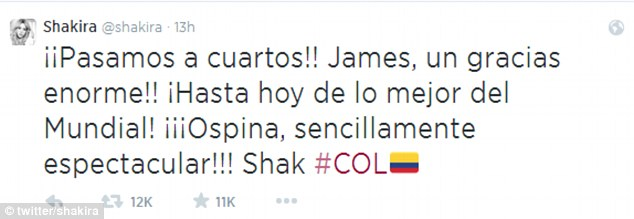 Shakira posted this message to her 25million Twitter followers