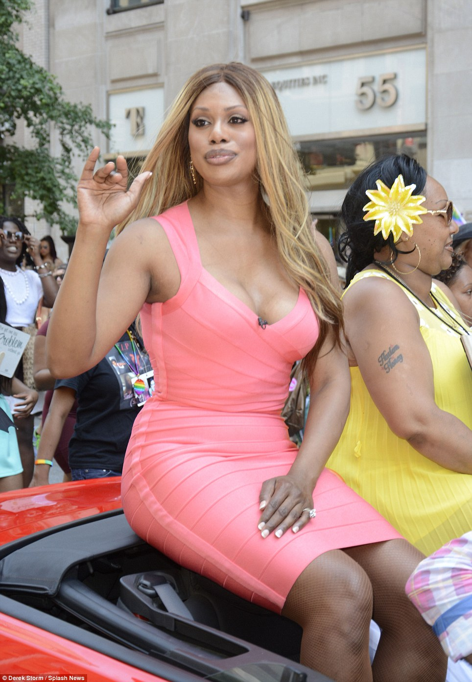 Star: Laverne Cox, who stars in the hit Netflix series Orange is the New Black, serves as a grand marshal in the New York parade