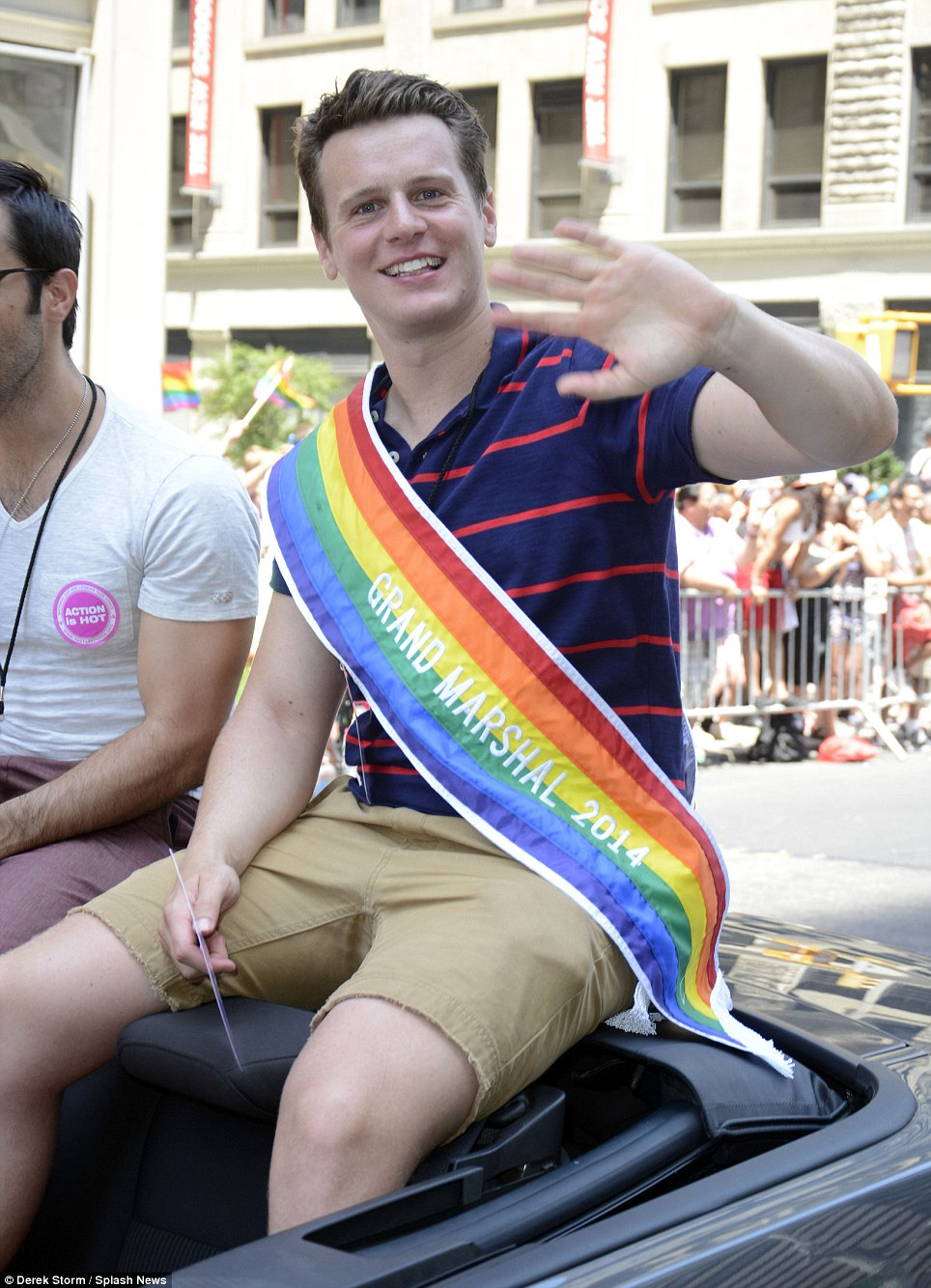 Star: Jonathan Groff, who appears in the HBO series looking, serves as one of three grand marshals in New York