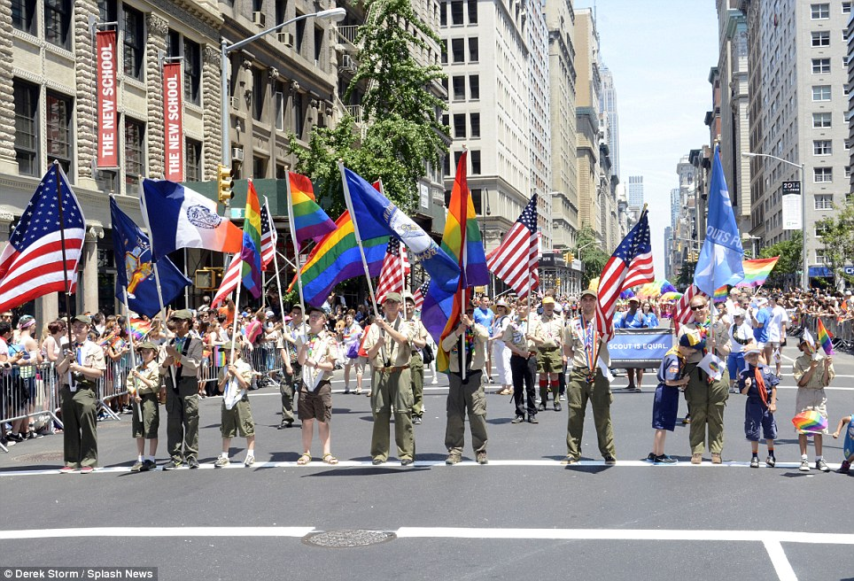 Equality: Scouts for Equality, a group that is 'dedicated to ending the BSA¿s ban on gay members and leaders' march